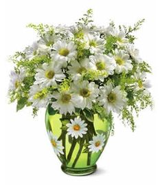 The bright bouquet includes white daisy spray chrysanthemums, yellow daisy spray chrysanthemums and bupleurum accented with fresh greenery. Happy Flowers, Fresh Flowers, Silk Flowers, Beautiful Flowers, Spring Flowers, Simply Beautiful, White Flowers, Beautiful Flower Arrangements, Floral Arrangements