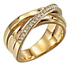 Michael Kors Michael Kors Gold Tone and Clear Pave Intertwined Ring Size 8