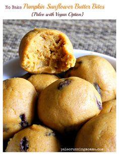 No Bake Pumpkin Sunflower Butter Bites @paleorunmomma #paleo & #vegan options
