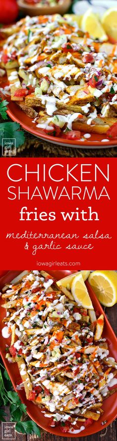 Low Carb Recipes To The Prism Weight Reduction Program Chicken Shawarma Fries With Mediterranean Salsa And Garlic Sauce Are Aparty On A Platter Full Of Delicious, Fresh And Bold Flavors. Poutine, A Food, Food And Drink, Cooking Recipes, Healthy Recipes, Healthy Food, Pasta, Garlic Sauce, Whole 30 Recipes
