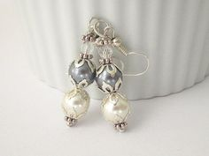 Grey and Ivory Pearl Earrings Bridesmaid by UrbanDaisyBridal