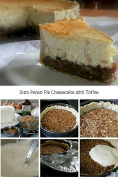 This holiday hot buttered rum pecan pie cheesecake with toffee is flat ...