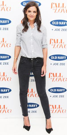 Katie Holmes stuck to tried-and-true classics at the Old Navy NYFW party in a striped poplin Old Navy button-down that she tucked into dark Acne skinnies, with black bow-topped Isabel Marant pumps. #InStyle