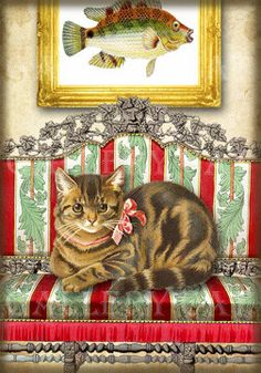 Victorian Cats on Couches - Digital Collage Sheet Print It Yourself Label Card Journal Original Whimsical Altered Art by GalleryCat CS78. $3.50, via Etsy.