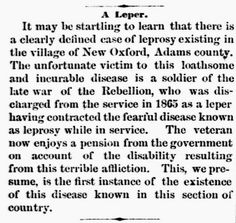 Genealogical Gems: On This Day: Leprosy exists in Adams County