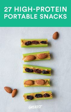 Don't get in a snack-time rut. Here are 27 tasty healthy portable high-protein-snacks High Protein Snacks, Healthy Vegan Snacks, Healthy Eating, Paleo, Hi Protein Meals, Hi Protein Breakfast, Protein Recipes, Diabetic Recipes, Healthy Desserts