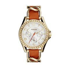 Women's Wrist Watches - Fossil Womens ES3723 Riley Multifunction GoldTone Stainless Steel Watch with Leather Strap * Check out this great product. (This is an Amazon affiliate link)