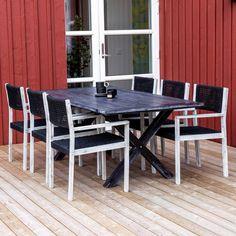 Klassisk havebord i sort med flotte krydsben Sort, Outdoor Tables, Outdoor Decor, Conference Room, Outdoor Furniture, Home Decor, Meeting Rooms, Interior Design, Home Interior Design