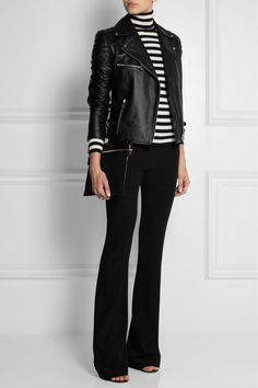 Black crepe Concealed hook, button and zip fastening at front acetate, rayon; Black Leather Jacket Outfit, Black Pants Outfit, Jeans Outfit Winter, Outfit Jeans, Black Bootcut Jeans, Black Skinnies, Skinny Jeans, Alexander Mcqueen, Casual Chique