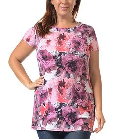 Celeste Red & Pink Floral Tunic - Plus | zulily