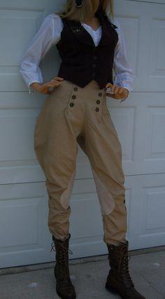 Vintage Style Steampunk Button Front Equestrian Riding Pants Jodhpurs Ankle Length. $65.00, via Etsy.