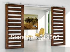 Modern BARN DOOR HARDWARE for Double Sliding Wood Door with free shipping-in Doors from Home Improvement on Aliexpress.com