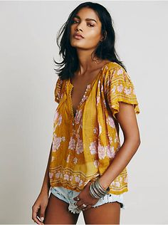 Free People FP One Short Sleeve Printed Peasant Top, $78.00