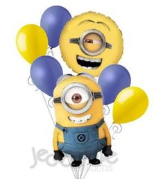 """Included in this bouquet: 7 Balloons Total 1 – 31"""" Stuart Minion Shape Balloon 1 – 18"""" Despicable Me Minions Round Balloon 5 - 12"""" Mixed Latex Balloons (3 Periwinkle, 2 Yellow) These items may arrive"""