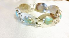 """Argentium Silver and Kingman Turquoise Bracelet 7 1/2"""" by DKHandcraftedJewelry on Etsy"""