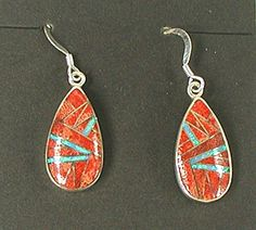 NOS Orange Spiny Oyster and Opal Inlay Wire Earrings E524
