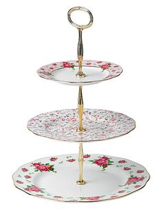 Royal Albert New Country Roses White Vintage Formal 3-Tier Cake Stand #macysdreamfund