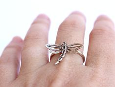 Sterling silver dragonfly ring, dragonfly jewelry, statement ring, gift idea, insect jewelry on Etsy, 105.45₪