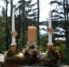 Items similar to birch wedding unity log Unity candle holder Birch wood Log natural White Birch or Pine breathtaking forest wedding design - on Etsy Log Candle Holders, Unity Candle Holder, Candle Holders Wedding, Candle Set, Log Holder, Candle Stand, Dollar Tree Centerpieces, Floating Candle Centerpieces, Pillar Candles