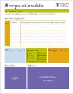 fitness goal new year printable