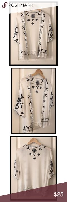 8479fab5 NWOT Crochet Embroidered Kimono White kimono with beautiful black crocheted  embroidery, size small, but