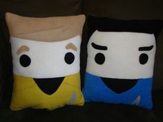 Star Trek pillow, Spock, Kirk, Khan by telahmarie on Etsy https://www.etsy.com/listing/155842058/star-trek-pillow-spock-kirk-khan
