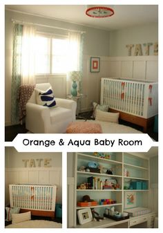 Fabulous Orange and Aqua Baby Room by Kristen of Cottage Modern! This room is so cute I want to copy it right away. Love the vibrant details that really pop!