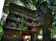 Welcome to the Minister's House in Crossville, Tennessee! The largest tree house in the world, the Minister's House measures over 97 feet tall and uses 6 Oak trees as pillars to support the structure.