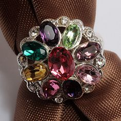 925 Sterling Silver Round Faceted Multicolor by TheEiffelTeaRoom,