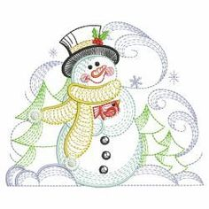 Rippled Winter Snowman 06(Md) machine embroidery designs