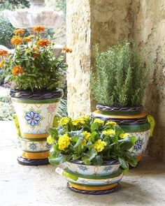 Hand painted polyurethane Moroccan tiles planters