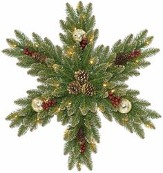 Glittery Gold Dunhill Fir Snowflake with Battery Operated 35 LED Lights 32 Inch #ChristmasGarland #Wreaths #Garland #DunhillFir #Gold #Snowflake #LEDLights #BatteryOperated #HangingDecor #Christmas #ChristmasDecor #Holiday #Seasonal #HomeDecor #32Inches
