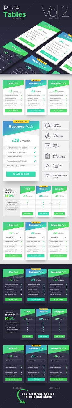 Set Price Tables Tables, Template and Pricing table - price chart template