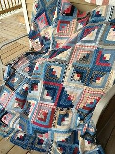 Early Antique Primitive Log Cabin Hand Stitched Quilt Top-Blue Calicos