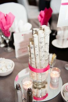 6 Chic Wedding Centerpieces That Don't Involve Flowers If you're not a huge fan of flowers, or looking for an affordable alternative for your wedding centerpieces, you've com. Music Centerpieces, Non Floral Centerpieces, Banquet Centerpieces, Banquet Decorations, Party Decoration, Wedding Flower Arrangements, Wedding Centerpieces, Centerpiece Ideas, Centerpiece Flowers