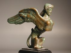 Greek Classical bronze sphinx. 5th - 4th century BC.In Greek tradition, it has the haunches of a lion, the wings of a great bird, and the face of a woman. She is mythicised as treacherous and merciless. Those who cannot answer her riddle suffer a fate typical in such mythological stories, as they are killed and eaten by this ravenous monster.[1] @Jess Liu zheng.wikipedia.org