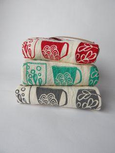 Flour Sack Towel Hand Printed Mugs Natural Cotton by TheHighFiber