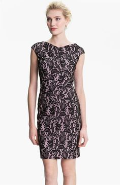 Kay Unger V-Back Lace Jacquard Sheath Dress available at #Nordstrom
