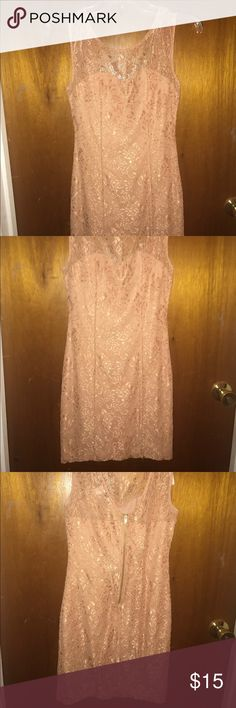 Lacy nude/tan dress Tan/nude lacy dress worn once Forever 21 Dresses Mini