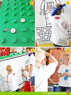 24 Lego Party Games for parties - lego toss, pin the lego, memory game, lego transfer, lego spoon race, lego relay, etc.