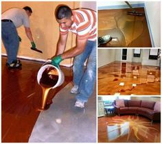 DIY Metallic Epoxy Floor Markus Schipp xdecoysx Home Inspiration Metallic epoxy floor coatings are a hot new trend that is slowly finding its way into the home as a very high tech and exotic looking garage flooring option. These coatings create a g# DIY Epoxy Floor Diy, Epoxy Floor Basement, Metallic Epoxy Floor, Garage Epoxy, Garage Flooring Options, Diy Flooring, Bathroom Flooring, Flooring Ideas, Epoxy Resin Flooring