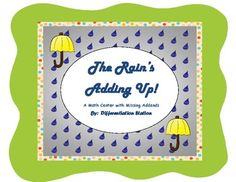 FREE!  Weather themed missing addend addition center.  Great for kinesthetic learners, who need to physically interact with the manipulatives.  Late K, 1st, special education, homeschool.