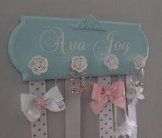 bow holder, monogram hair bow holder, bow organizer, girl nursery decor, girl baby shower gift, headband holder, blue and silver, baby girl