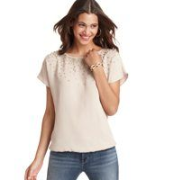 Sequin Cluster Banded Hem Tee - A shower of sequins radiates outward from the front neckline of this silky tee, for a glitteringly pretty (yet casual) result. Boatneck. Short dolman sleeves. Gathered elasticized hem.
