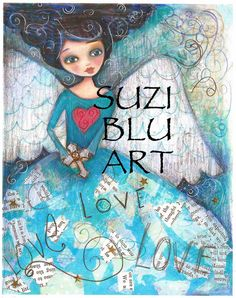 Giclee Print of Mixed Media Folk Art Angel by Suzi Blu by SuziBlu, $25.00