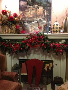 Here is my mantle at my house.  Don't you just love Christmas!!!!