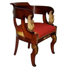 Elegant French Empire Fauteuil de Bureau | From a unique collection of antique and modern armchairs at http://www.1stdibs.com/furniture/seating/armchairs/