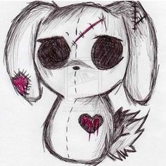 emo bunny by ajcekk traditional art drawings animals 2010 2012 ajcekk . Scary Drawings, Love Drawings, Drawing Sketches, Drawing Ideas, Sketch Ideas, Creepy Sketches, Drawing Tutorials, Halloween Drawings, Drawing Drawing