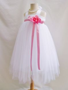 White guava/coral/petunia tutu tulle princess bridal party flower girl dress #Dress