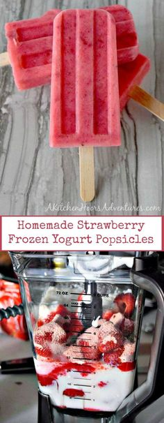 Fresh, in season strawberries, creamy yogurt, and sweet honey combine to make these summery Homemade Strawberry Frozen Yogurt Popsicles. #FreakyFridayRecipes via @akitchenhoor